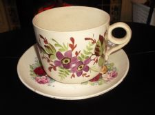 ANTIQUE OVERSIZE HANDPAINTED FLORAL CUP & MISMATCH ? SAUCER RED YELLOW PINK ROSE